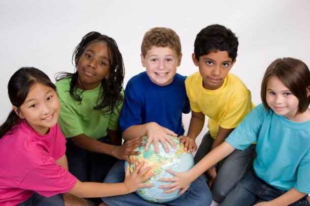 Children holding globe